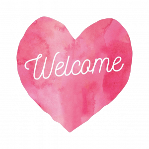 image of a pink heart inscribed with the word welcome